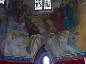 the chancel walls are adorned